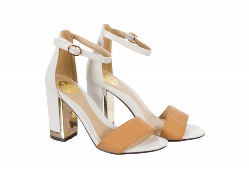 Milly & Co. SHELLEY White/Tan Block Heel