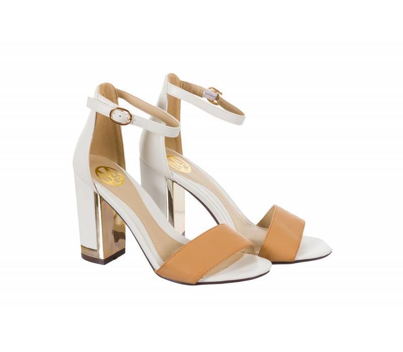SHELLEY White/Tan Block Heel