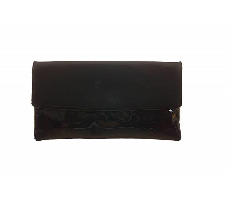 Le Babe Vernice Nero flapover Bag
