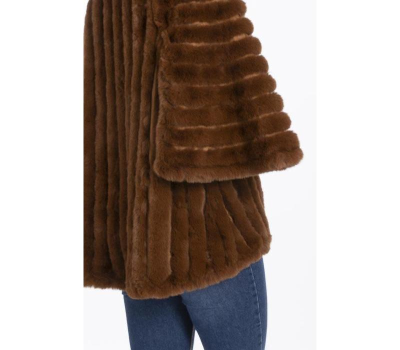 FMSUCT465A-04 Tan Faux Fur Jacket