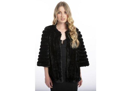 Jay Ley FMUCT465A-01 Black Faux Fur Jacket