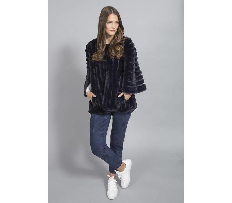 FMSUCT465A-07 Navy Faux Fur jacket