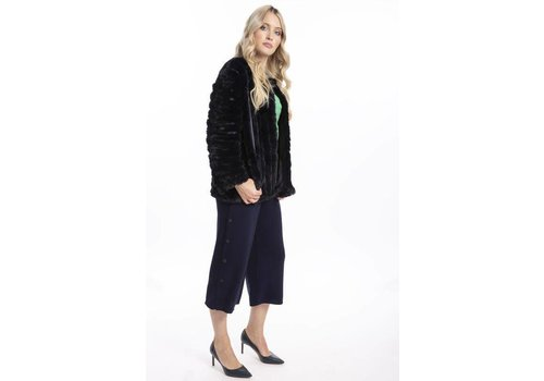 Jay Ley FMUCT435A-07 Navy Faux Fur long sleeve jacket