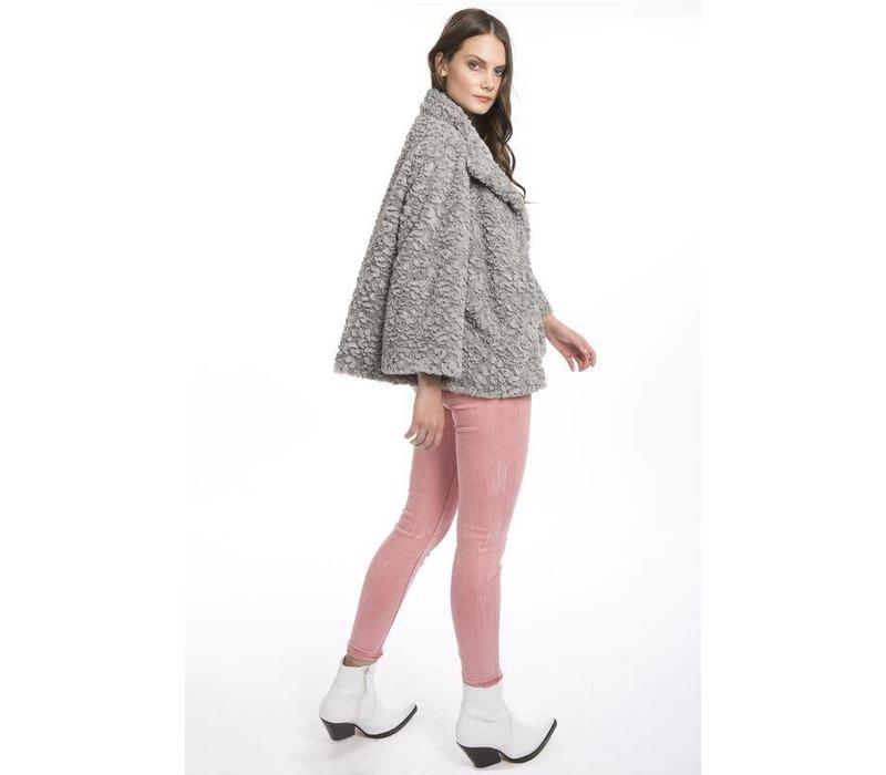 FF5019A-03 Grey Faux Fur Jacket