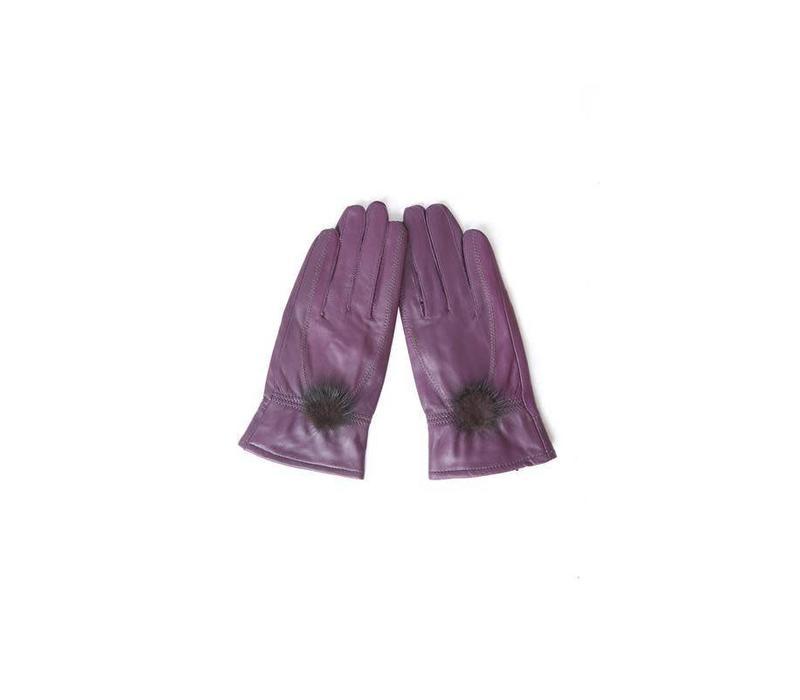 GLVF6A-05 Plumb Leather Gloves/fur bobble