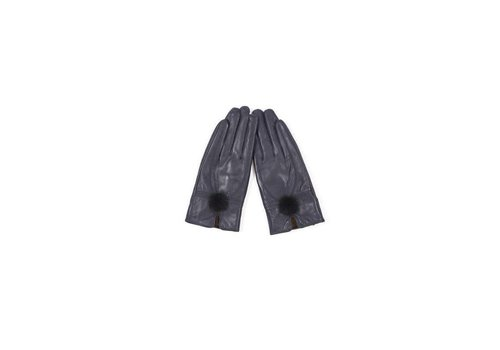 Jay Ley GLVF6A-07 Navy Leather Gloves/Fur bobble