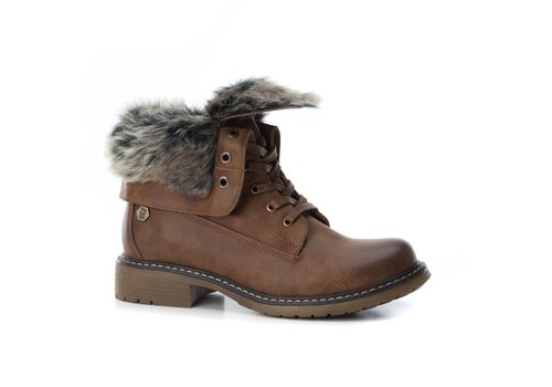 REFRESH A/W Refresh 64665 Camel A/Boot fur collar