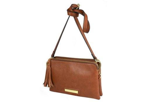 Liberty by Gionni Gionni ACACIA Tan Top Zip X-Body Bag