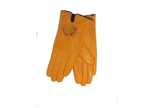 Jay Ley GLVF6A-OY Orange leather gloves/with fur bauble