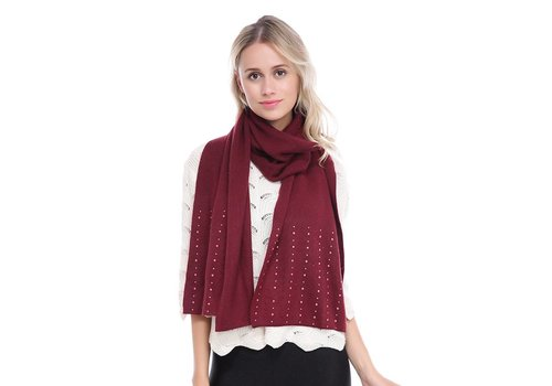 Peach Accessories SD02-2 Wine Beaded Cashmere blend scarf