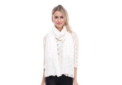Peach Accessories SD02-2 White beaded scarf