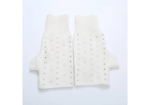 Peach Accessories SD02-3 White beaded fingerless gloves