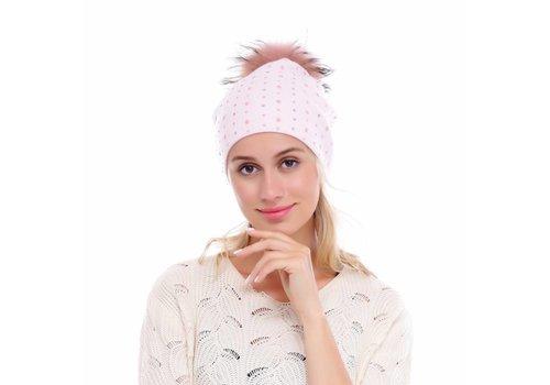 Peach Accessories SD02-1 Baby Pink beaded Pom Pom hat