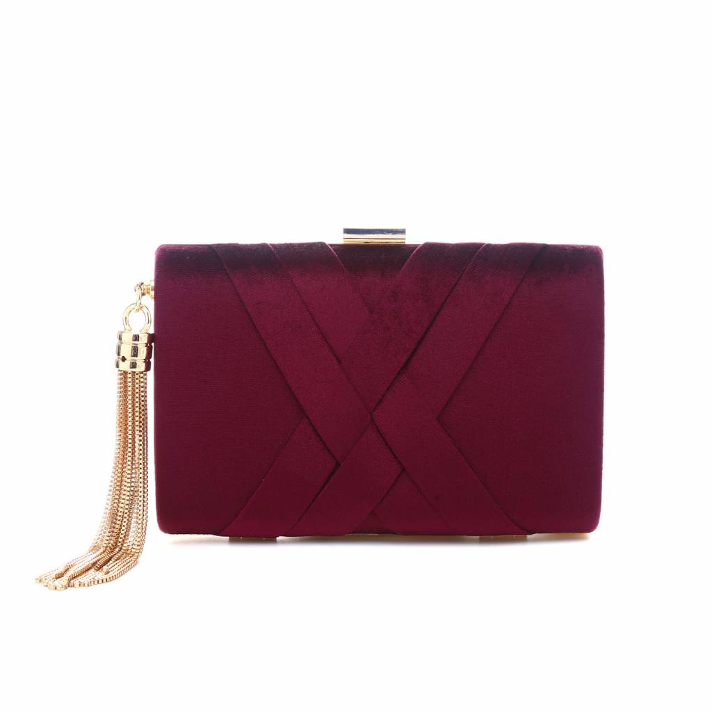 4187 Small Wine Velour Clutch Bag