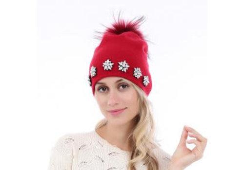 Peach Accessories SD06 Red Pom Pom Hat with Diamonte stars