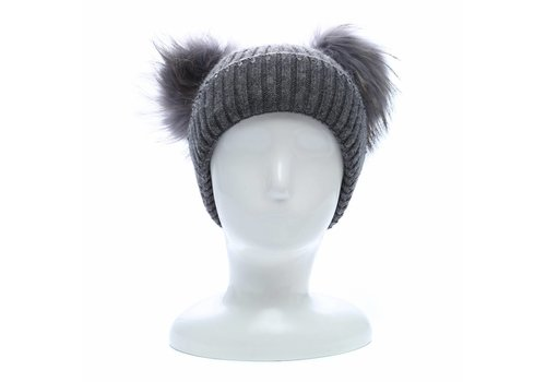 Peach Accessories SD16 Double Pom Pom Hat in Grey