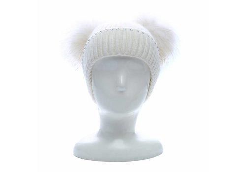 Peach Accessories SD16 Double Pom Pom Hat in Cream