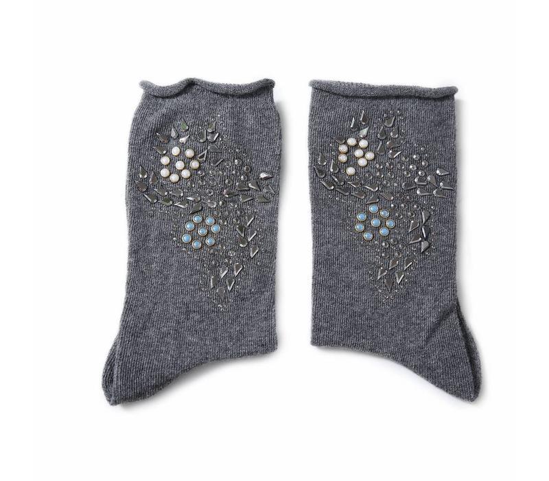 1025 Embellished socks Dark Grey