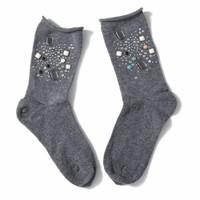 1021 Embellished socks Dark Grey