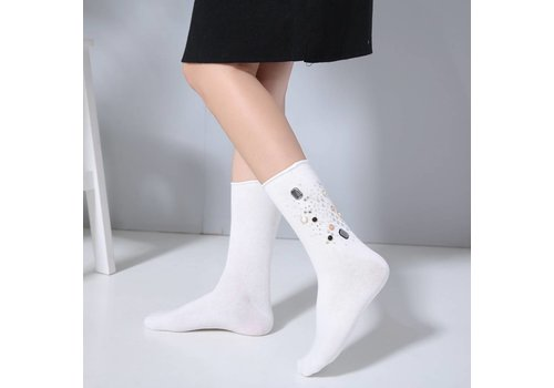 Peach Accessories 1021 Embellished socks White