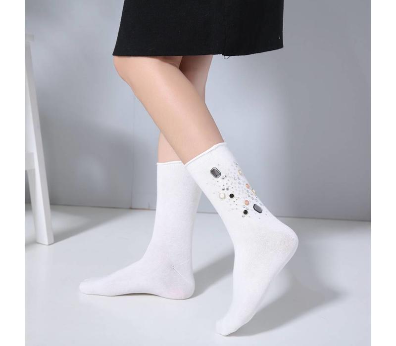 1021 Embellished socks White