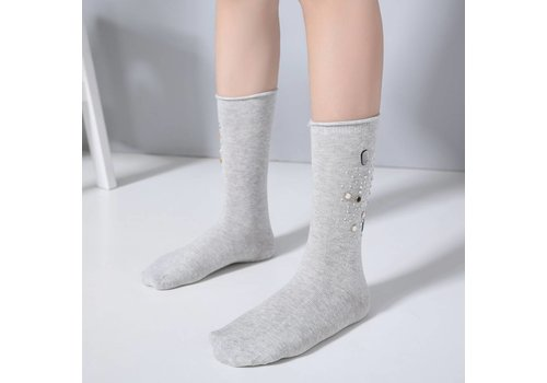 Peach Accessories 1021 Embellished socks light Grey