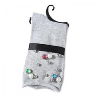1016 Embellished socks light Grey