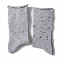 1022 Embellished socks light Grey