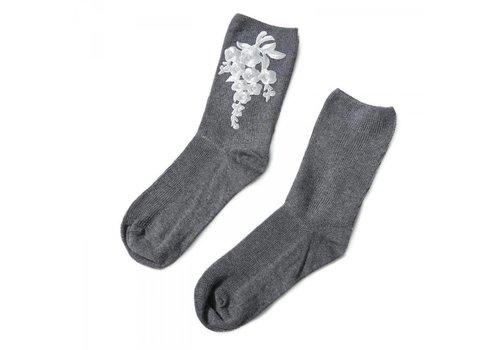 Peach Accessories 1018 Floral embroidered socks Dark Grey