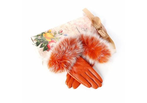 Peach Accessories HA11 Leather & Fur Gloves