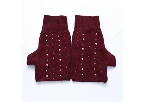 Peach Accessories SD02-3 Wine beaded fingerless gloves