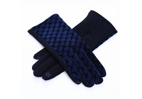Peach Accessories HA67 Navy Velvet Gloves
