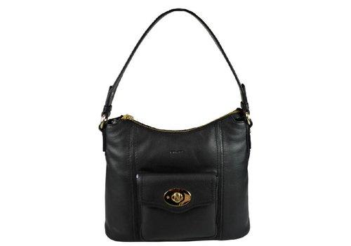 Oriano LOGAN curve top hobo bag Black