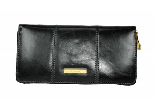 Oriano EDITH Black Zip around leather purse
