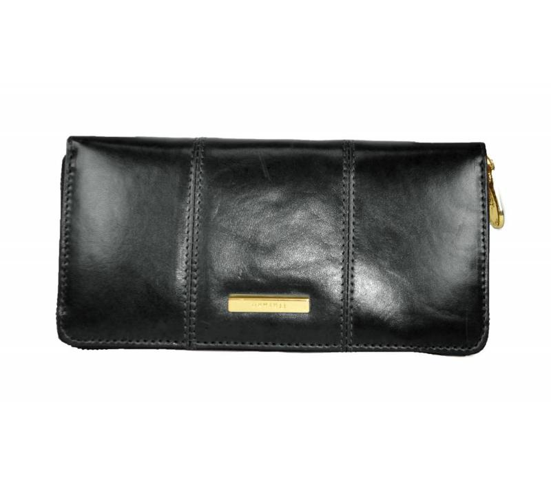 EDITH Black Zip around leather purse