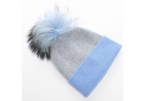 Peach Accessories SD36 Two Tone Blue Wool Hat