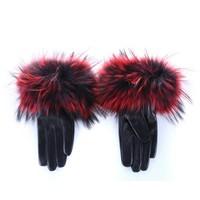 HA35 Wine fur/Black Leather Gloves