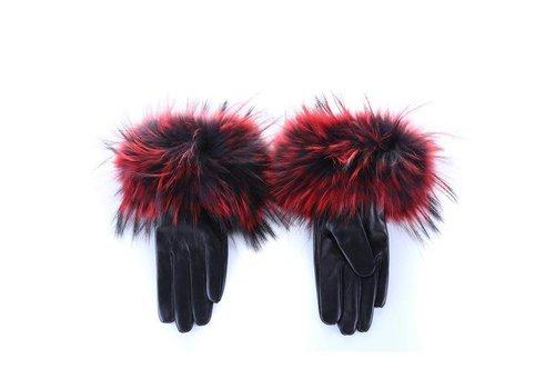 Peach Accessories HA35 Wine fur/Black Leather Gloves