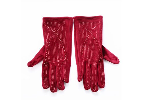 Peach Accessories HA70 Wine velvet gloves with Diamonte