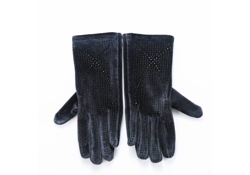 Peach Accessories HA70 Grey Velvet Gloves with Diamonte