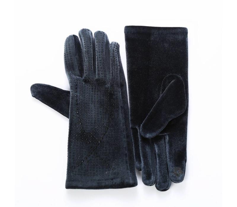 HA70 Grey Velvet Gloves with Diamonte
