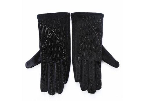 Peach Accessories HA70 Black velvet gloves with Diamonte