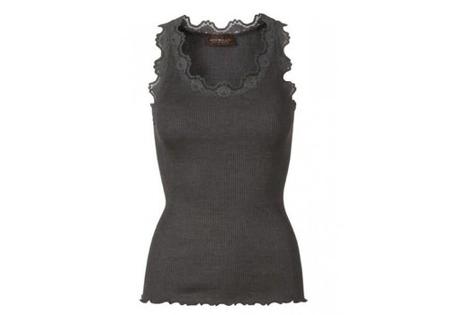 Rosemunde Rosemunde 5405-009 Silk Top W/Lace Dark Grey
