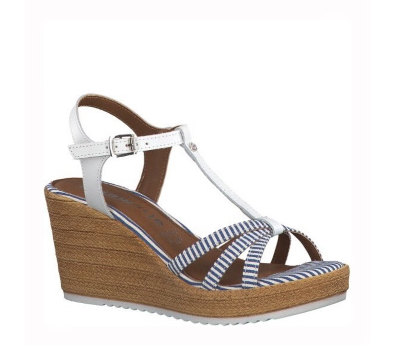 Tamaris 28380 White/Blue Wedge
