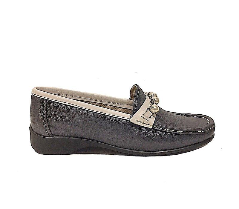 Teresa Torres 5286 Navy Metallic Loafers