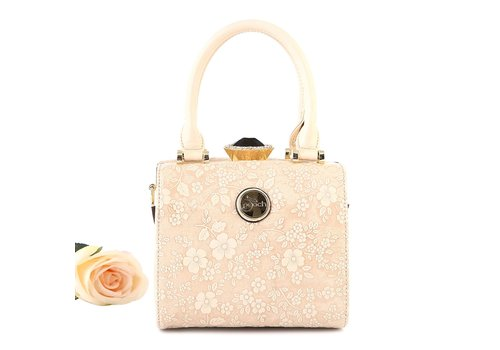 Peach Accessories ZW60513 Natural Embossed Flower Bag