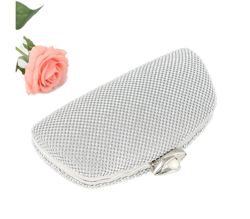 8959 Silver Crystal/ Pearl clasp Bag