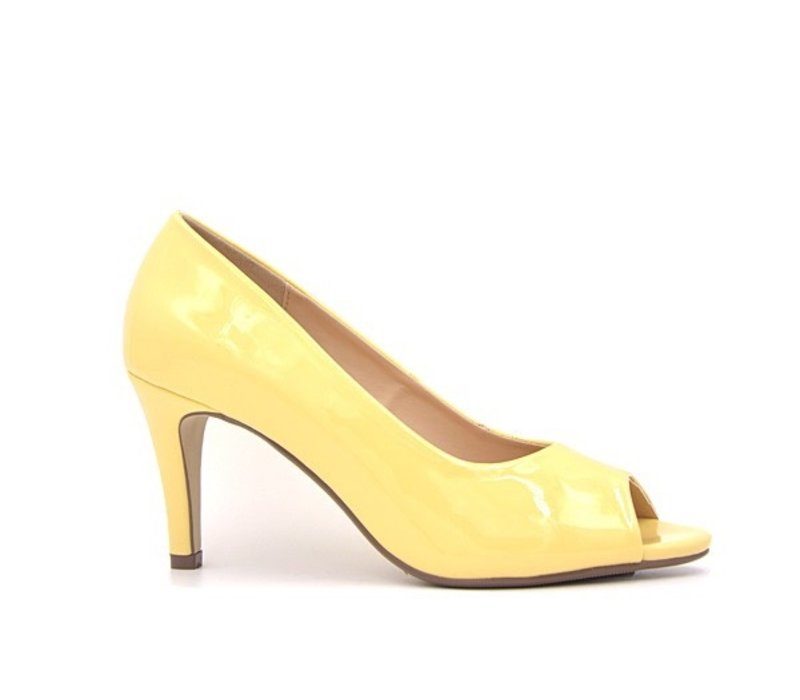 Milly & Co. PAIGE Yellow Pat Peep-toes