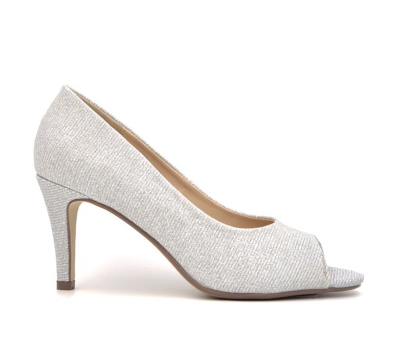 Milly & Co. PAIGE Silver glitter Peep-toes