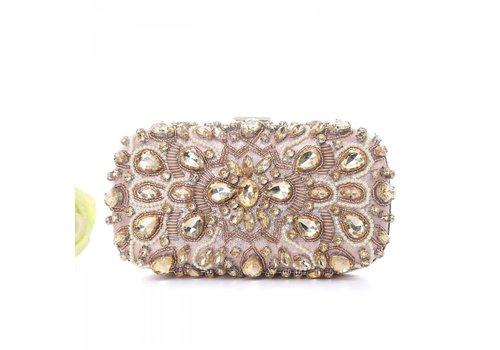 Peach Accessories F7229A Rose Gold Diamonté Clutch Bag